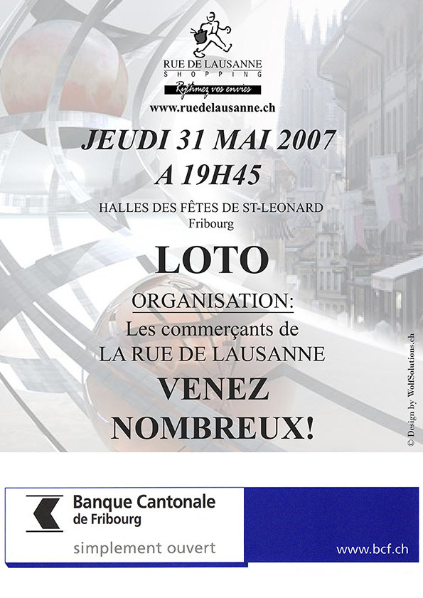 Werbeplakat / LOTTO - Association des Commerçants de la Rue de Lausanne in Fribourg